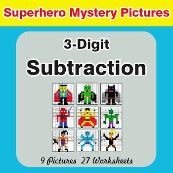 3-Digit Subtraction - Color-By-Number Superhero Mystery Pictures