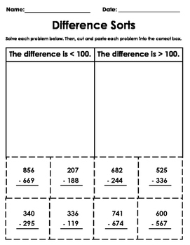 3-Digit Subtraction Cut-and-Paste Worksheet