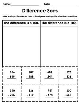 3-Digit Subtraction Cut-and-Paste Worksheet