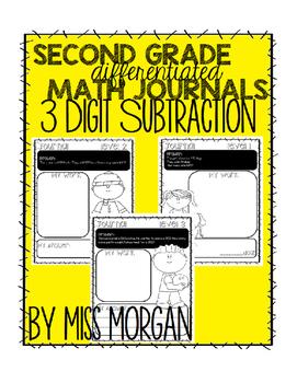 3 Digit Subtraction Differentiated Math Journals Second Grade (GO MATH)