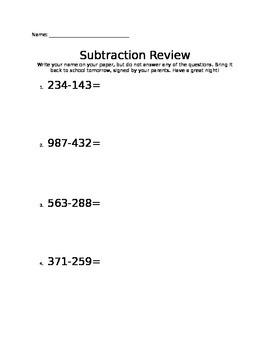 3- Digit Subtraction- Directions Homework