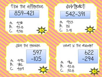 3 Digit Subtraction Math Centers Bundle