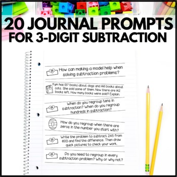 3-Digit Subtraction Math Journal Prompts - 2nd Grade