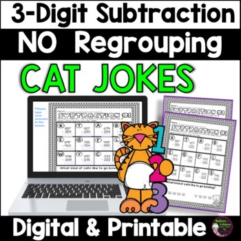 3-Digit Subtraction NO Regrouping Practice with Cat Jokes