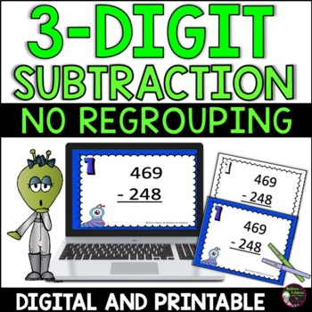 3-Digit Subtraction NO Regrouping Task Cards: Alien Theme
