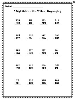 3 Digit Subtraction Practice Page Worksheets (No Regrouping) *With Answer Key*