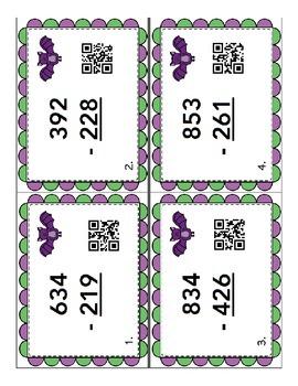 3 Digit Subtraction QR Task Cards Halloween Bat