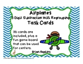 3 Digit Subtraction Regrouping Airplanes Task Cards