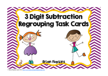 3 Digit Subtraction Regrouping Task Cards