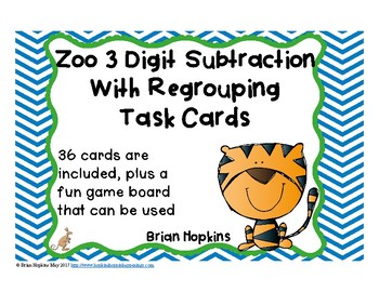 3 Digit Subtraction Regrouping Zoo Task Cards
