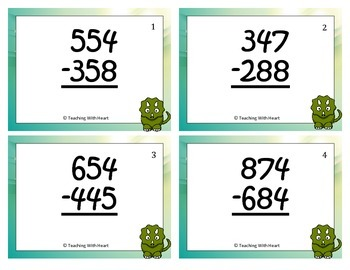 3 Digit Subtraction Scoot Activity/Task Cards