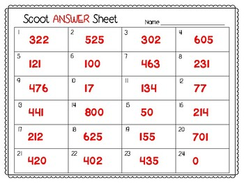 3 Digit Subtraction Scoot (No Regrouping) **Comes With Answer Key!**