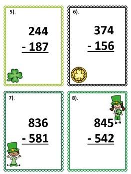 3-Digit Subtraction Scoot - St. Patrick's Day