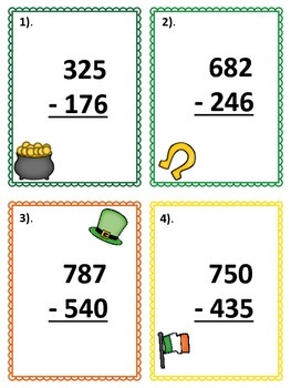 3-Digit Subtraction Scoot - St. Patrick's Day