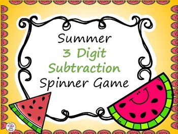 3 Digit Subtraction Spinner Game- Summer-Themed