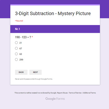 3-Digit Subtraction - Superhero Mystery Picture - Google Forms