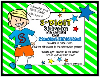 3-Digit Subtraction Task Card Activity Set (With Regrouping-Ones)