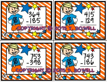 3-Digit Subtraction Task Card Activity Set (With Regrouping-Ones and Tens)