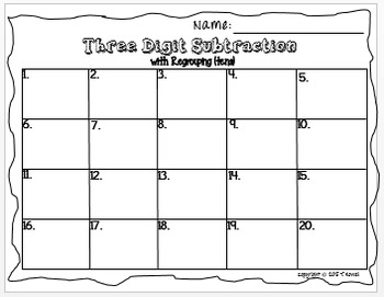3-Digit Subtraction Task Card Activity Set (With Regrouping-Tens)