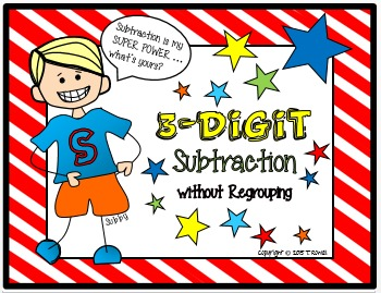 3-Digit Subtraction Task Card Activity Set (without Regrouping)