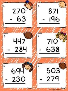 3 Digit Subtraction Task Cards