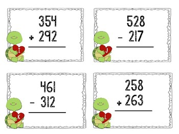 3 Digit Addition & Subtraction Task Cards February Math Center (Valentine's Day)