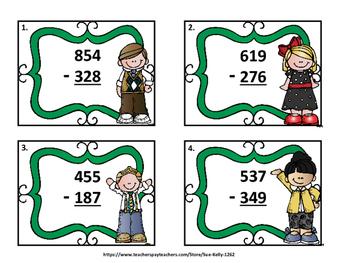 Subtracting 3-Digit Numbers Task Cards
