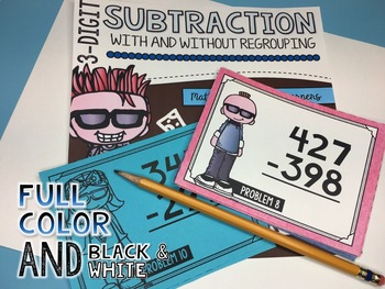 3-Digit Subtraction Task Cards (With AND Without Regrouping)