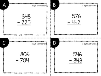 3 Digit Subtraction With and Without Regrouping {Task Cards}