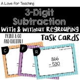 3 Digit Subtraction With and Without Regrouping Task Cards {Paper + Digital}