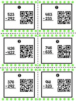 3 Digit Subtraction Task Cards w/ QR Codes