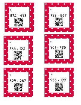 3-Digit Subtraction Task Cards with QR Codes