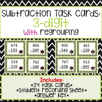 3-Digit Subtraction Task Cards with Regrouping