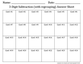 3 Digit Subtraction Task Cards with Regrouping