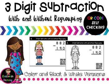 3 Digit Subtraction Task Cards with and without Regrouping – QR Code Self Check