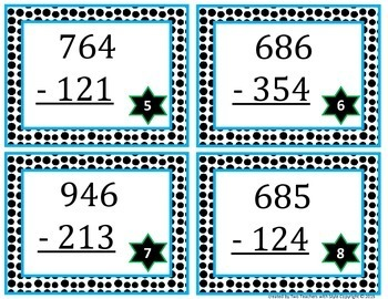 3 Digit Subtraction Task Cards without Regrouping