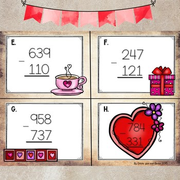 3 Digit Subtraction Task cards- No regrouping Valentine Theme