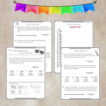 3 Digit Subtraction Test no regrouping