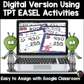 3-Digit Subtraction WITH Regrouping Task Cards: Alien Theme