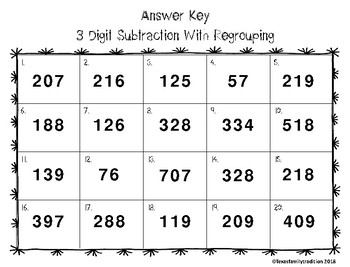 3 Digit Subtraction With Regrouping