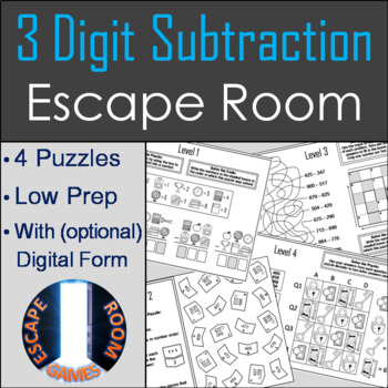 3 Digit Subtraction With Regrouping Activity: Escape Room Math