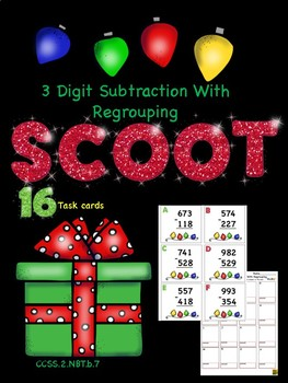 3 Digit Subtraction With Regrouping Christmas SCOOT!