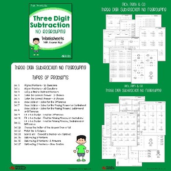 Three Digit Subtraction No Regrouping, With Regrouping Worksheets