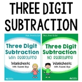 3-Digit Subtraction With Regrouping Activities, No Borrowing Worksheets Bundle