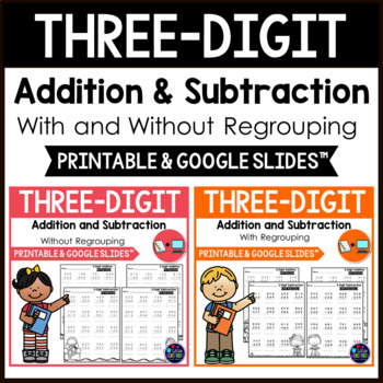 3 Digit Addition and Subtraction Worksheets BUNDLE Distance Learning Packets