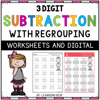 3 Digit Subtraction With Regrouping Worksheets By Learning Desk Tpt