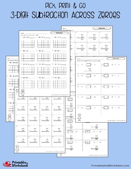 3 Digit Subtraction With Zeros Worksheets