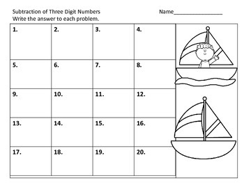 Subtraction--With and Without Regrouping--Sailing Theme
