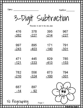 3 digit subtraction without regrouping by sweet texas teacher tpt. Black Bedroom Furniture Sets. Home Design Ideas