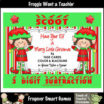 "3 Digit Subtraction Without Regrouping--""Have Your Elf A Merry Little Christmas"""